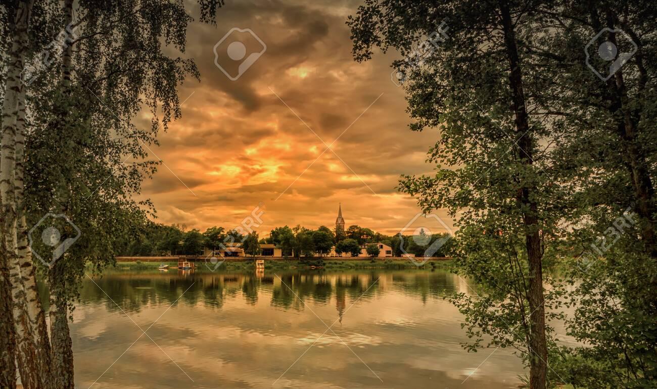 Nemunas River near the town of Birštonas sunset - 136076414