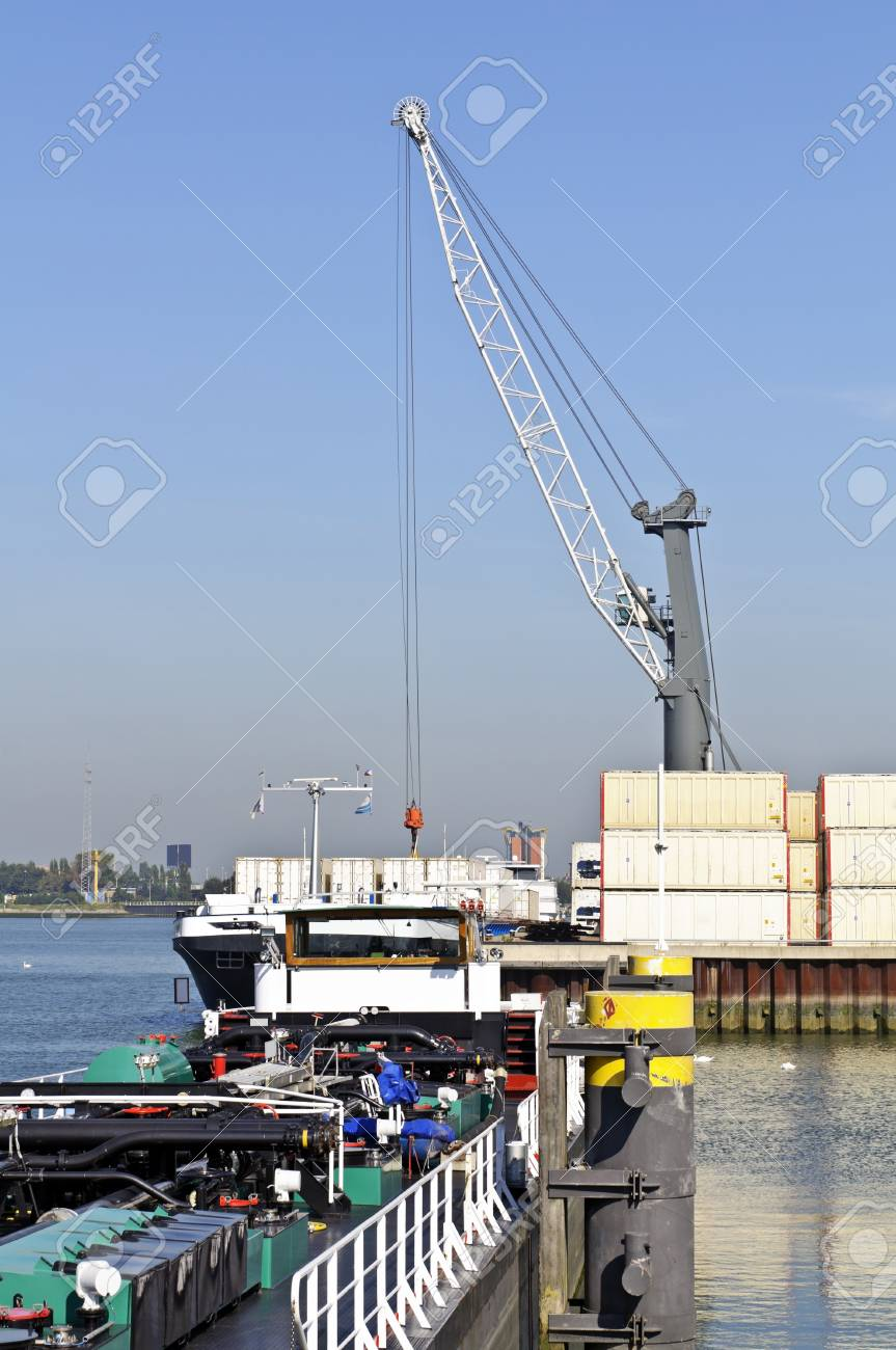 container ship in the harbor of rotterdam netherlands Stock Photo - 14026527