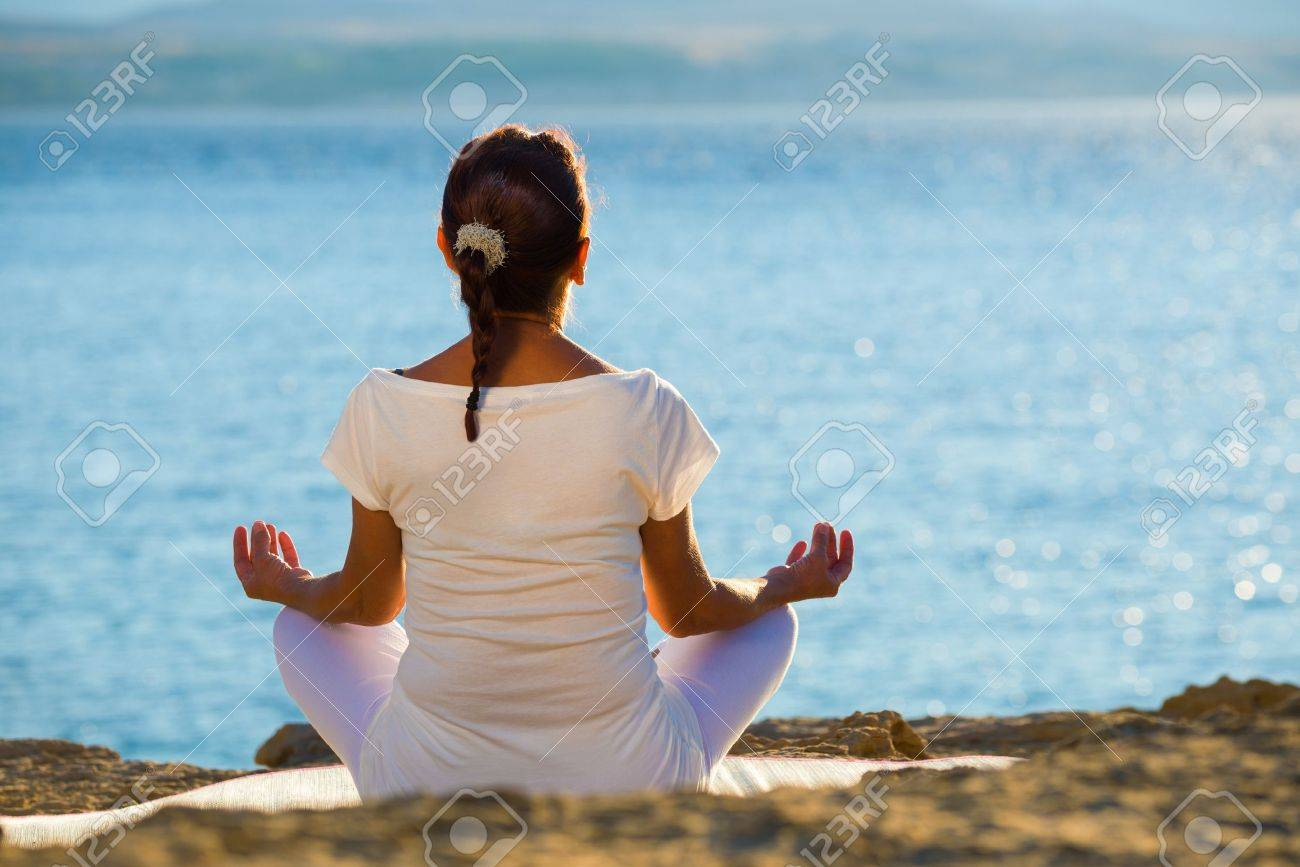 healthy middle aged woman doing fitness stretching outdoors Stock Photo - 22101732