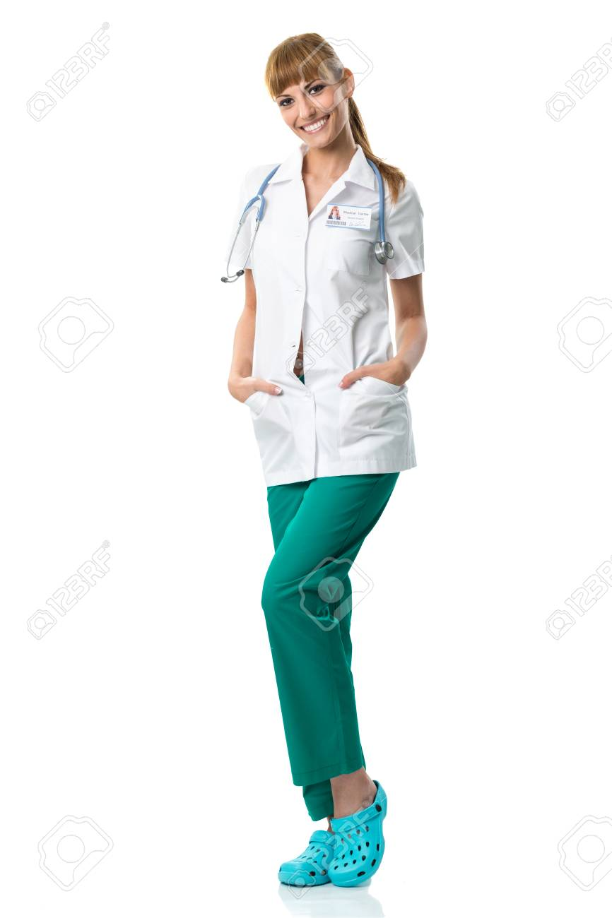 Smiling Doctor In White Medical Gown Stock Photo, Picture And ...
