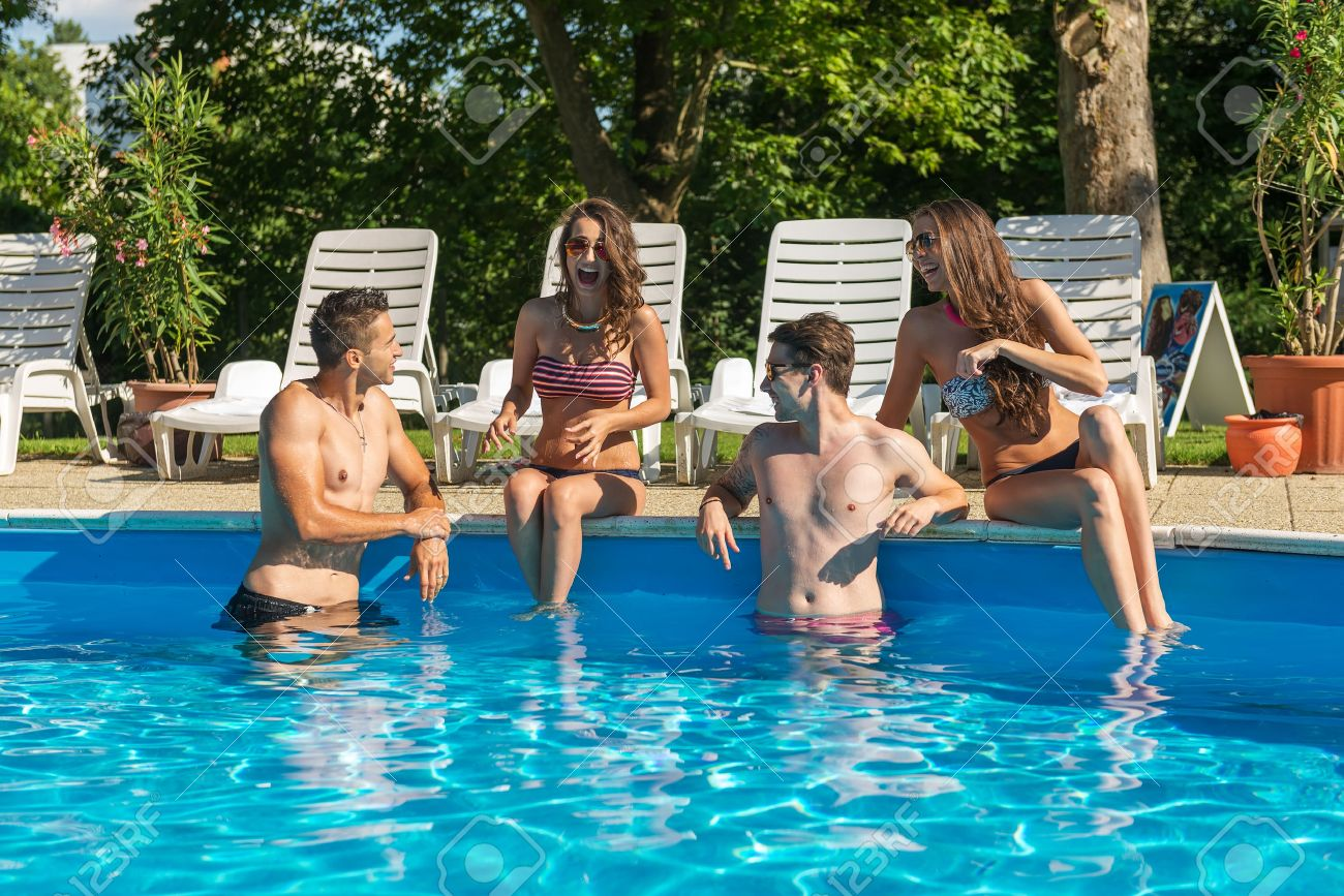 swimming pool with friends. Plain Swimming Four Friends Having Fun In The Swimming Pool Stock Photo  30472434 Inside Swimming Pool With Friends