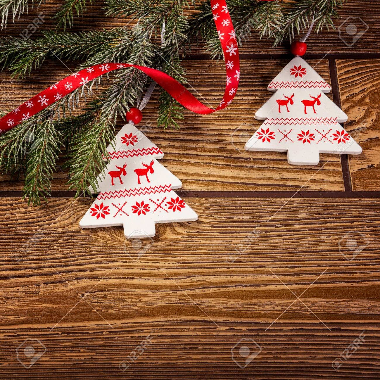 Norwegian Christmas.Christmas Decoration On Wood Background Norwegian Christmas