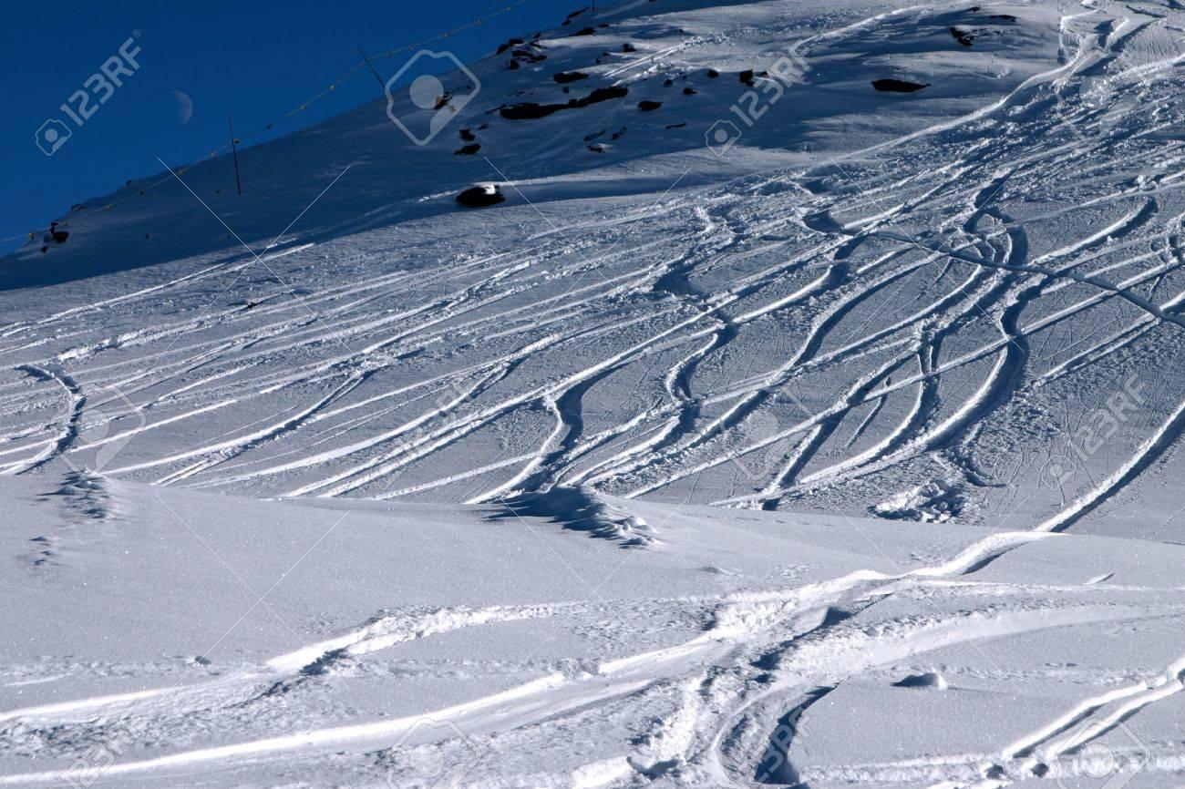Ski slope with moon, landscape version. Stock Photo - 314172