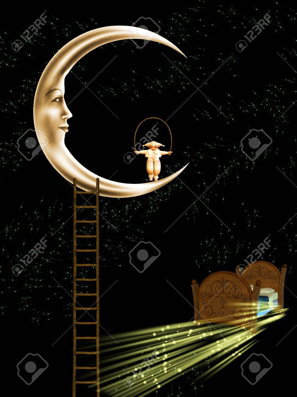 Kids at night with moon royalty free stock photography image - Kid Playing Jump Rope On The Moon Stock Photo 11008240