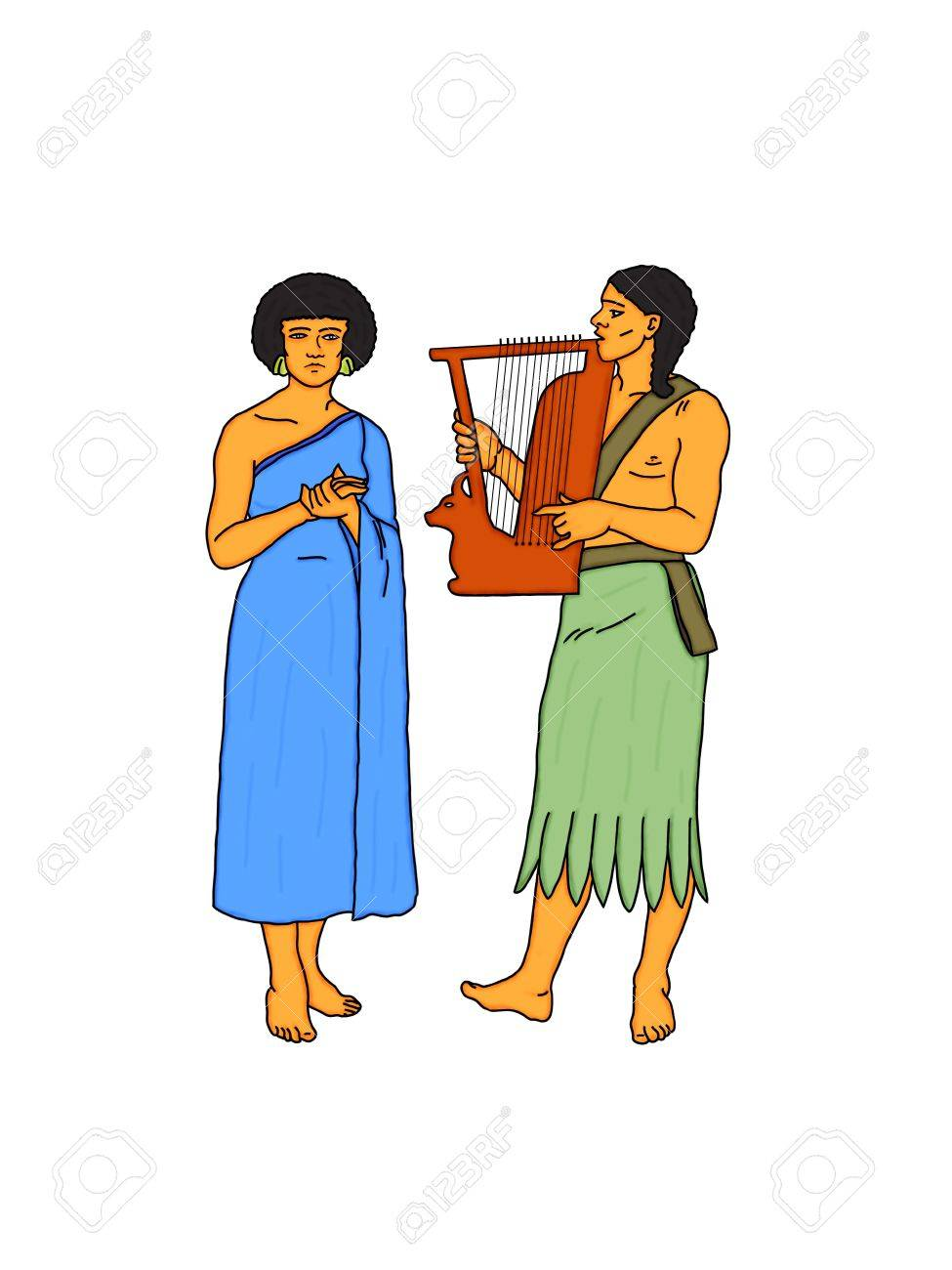 Young couple of Egyptian musicians Stock Photo - 11008212