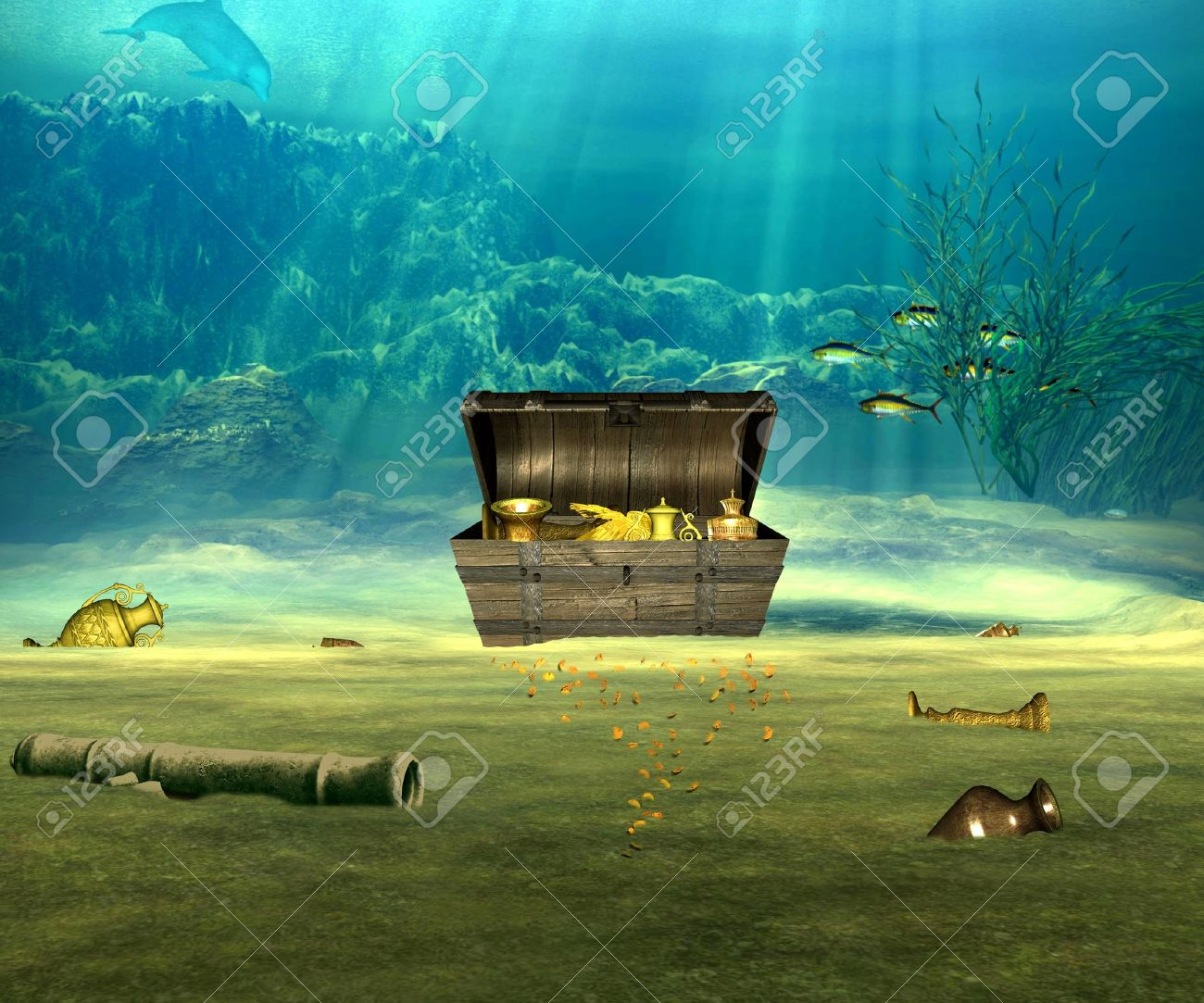 the treasure chest with valuable objects underwater stock photo