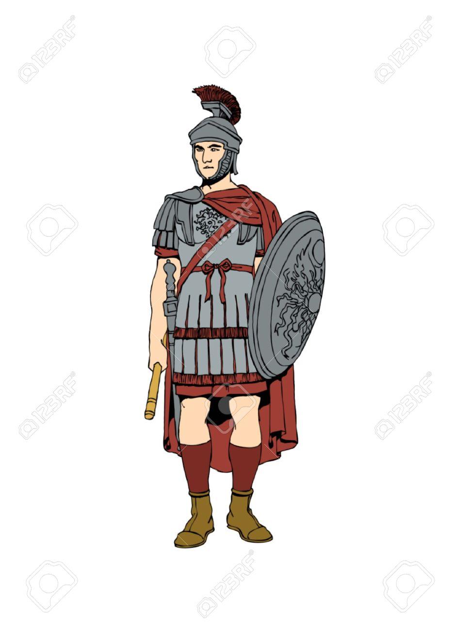 鎧で第 1 世紀ローマの兵士。 ロ...