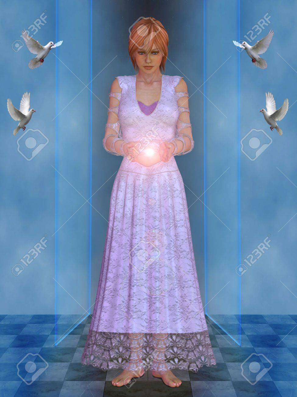 White witch with ball of light in his hands. Stock Photo - 11772252
