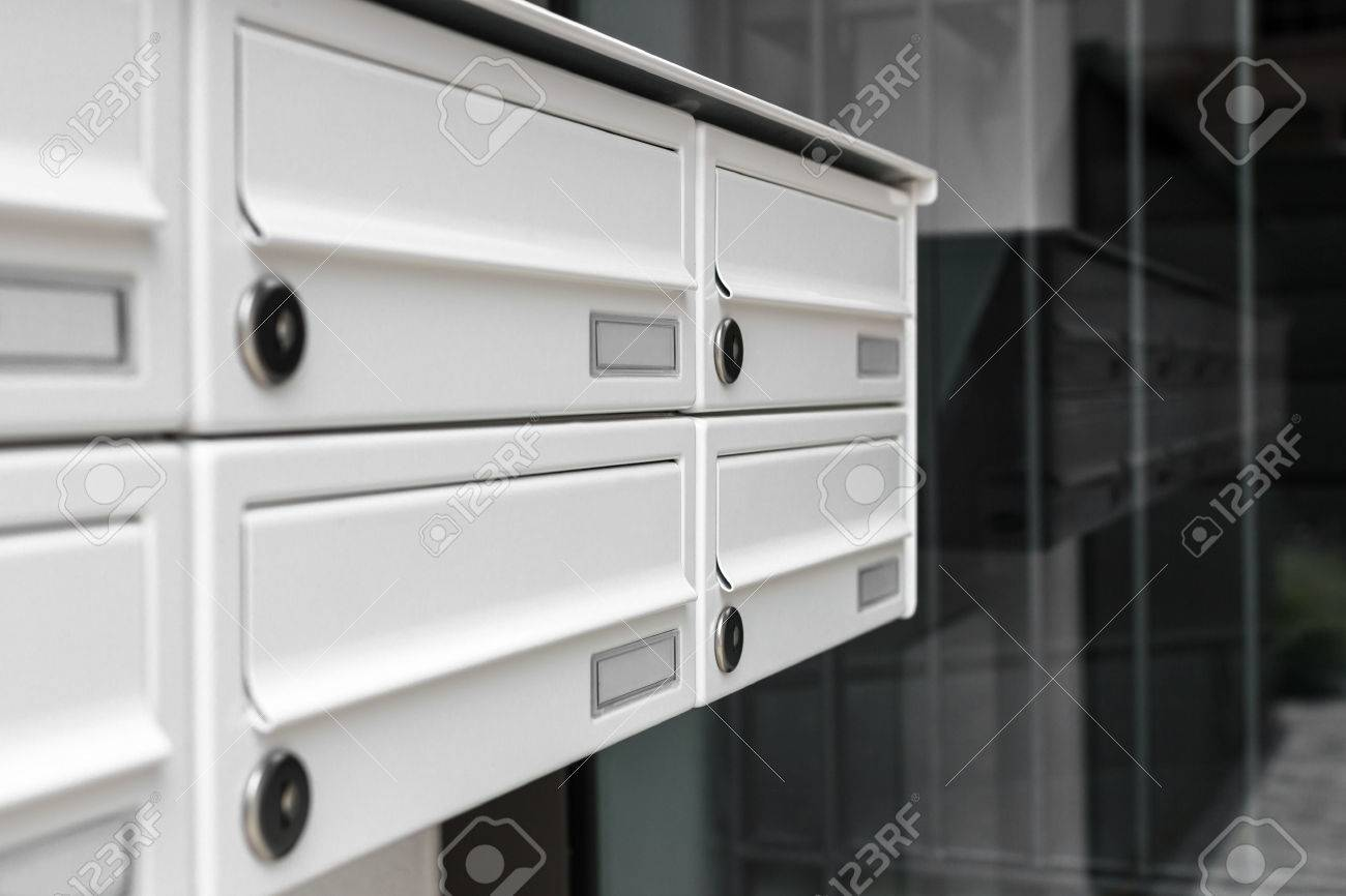 Mailboxes, With A Modern Design, Positioned At The Entrance Of ...