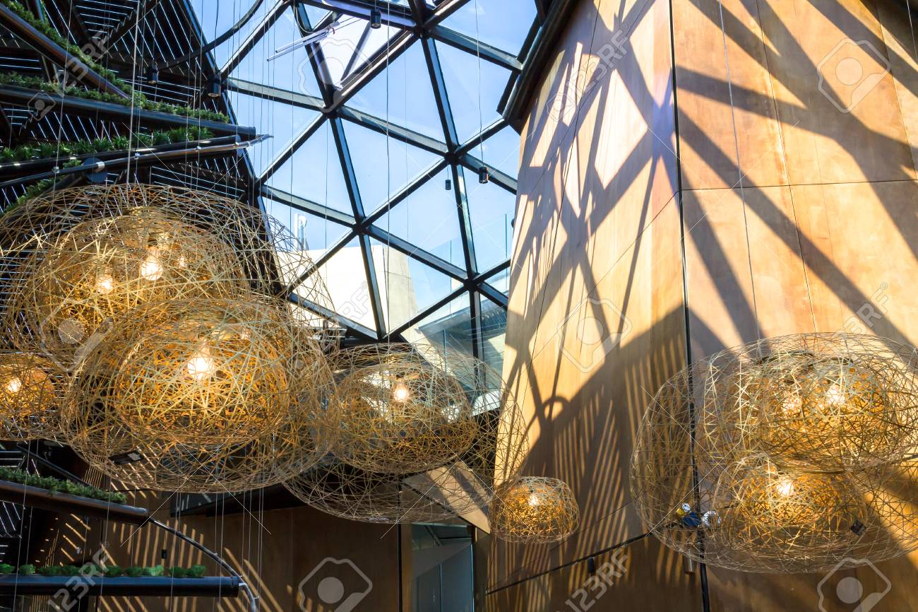 https www 123rf com photo 54851594 contemporary pendant lamps inside the lobby of a hotel html