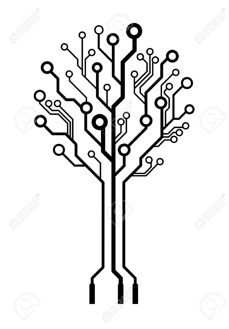 Conceptual Logo Circuit Board Tree Isolated Royalty Free Cliparts ...