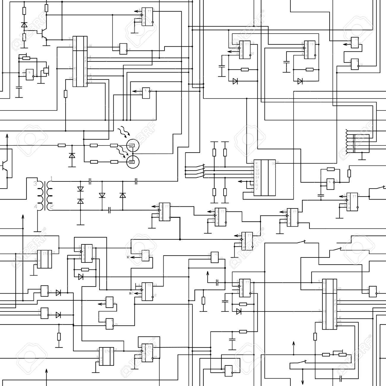 vector seamless electrical circuit diagram pattern royalty free rh 123rf com Electric Motor Circuit Diagram Circuit Board