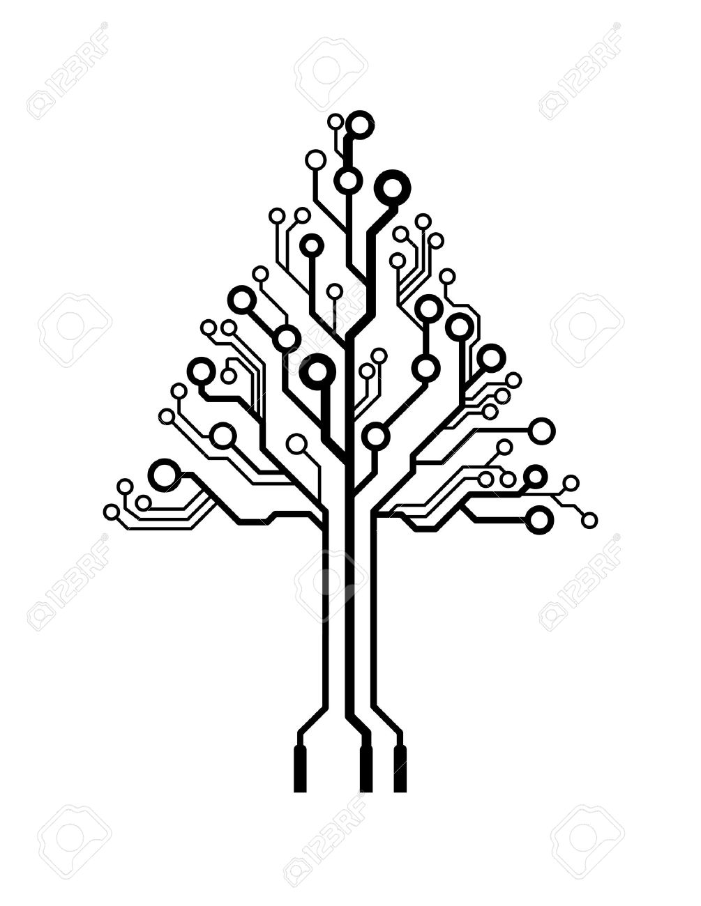 Vector Logo Triangle Circuit Board Tree Royalty Free Cliparts ...