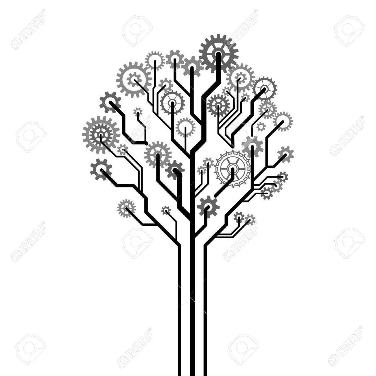 Tree made of gear wheels A vector illustration - 18412765
