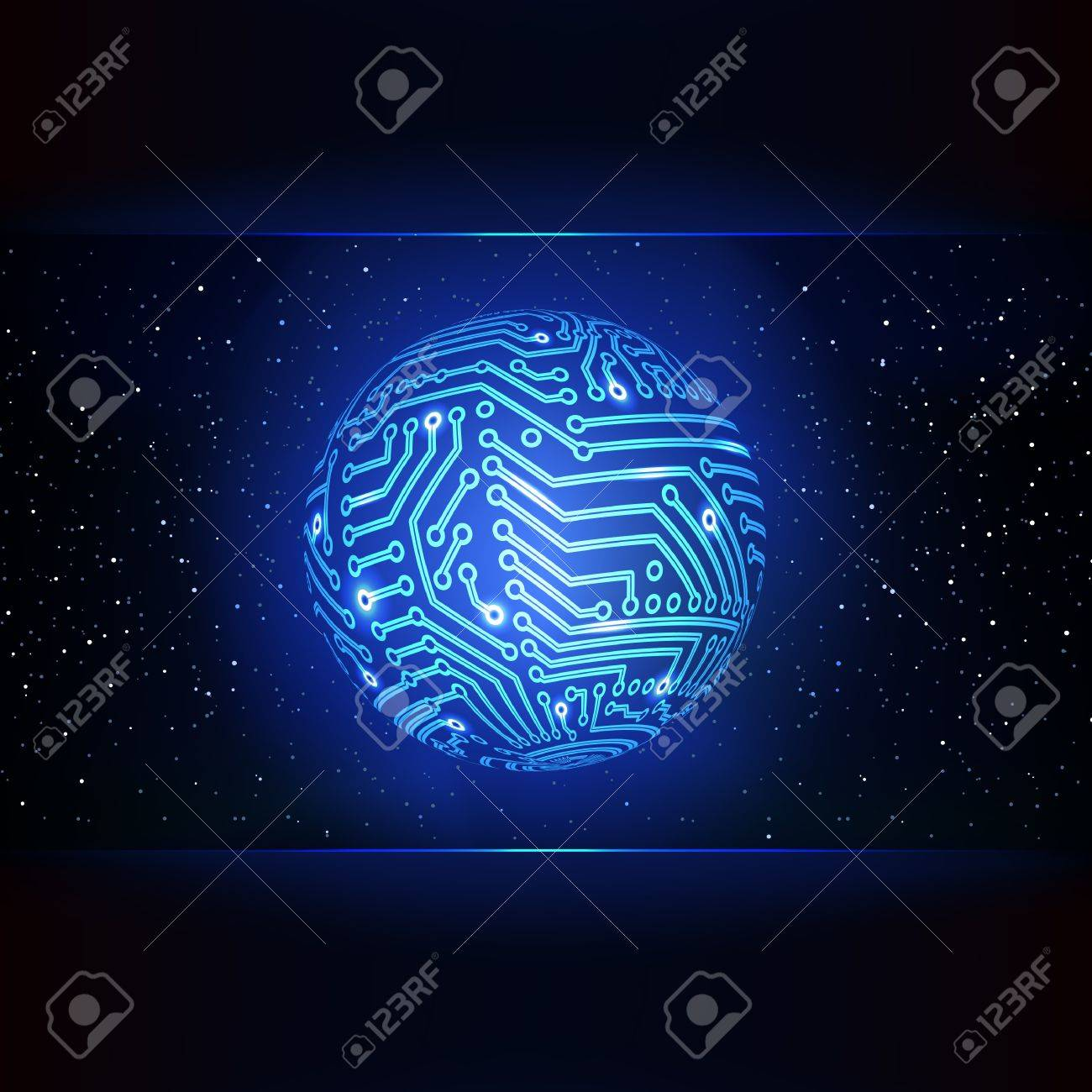 Circuit Board Background Global Networking Concept Royalty Free Stock Vector 18752984