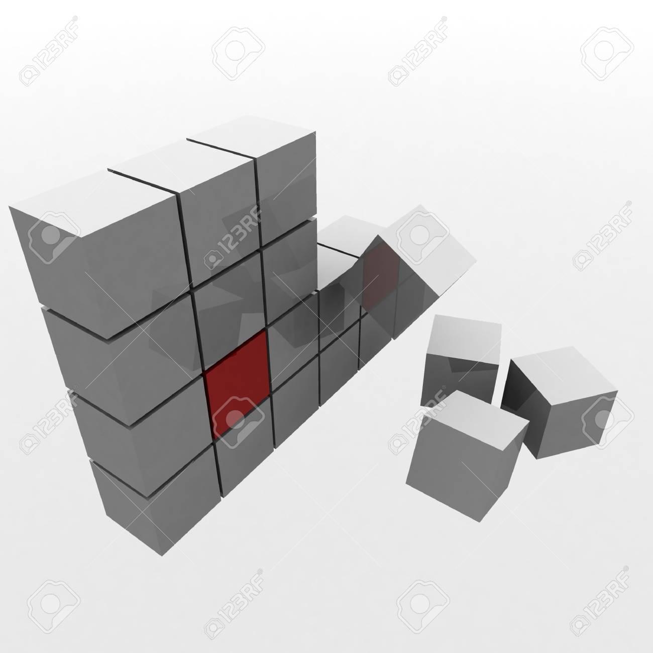 Cubo Di Metallo.Piramide 3d Del Cubo Di Metallo Lucido Al Centro Della Quale E Un Cubo Rosso