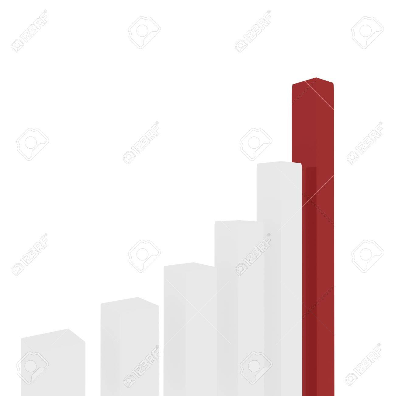 rectangular white pillars arranged in ascending order, one of which is red. computer Simulation Stock Photo - 11745799