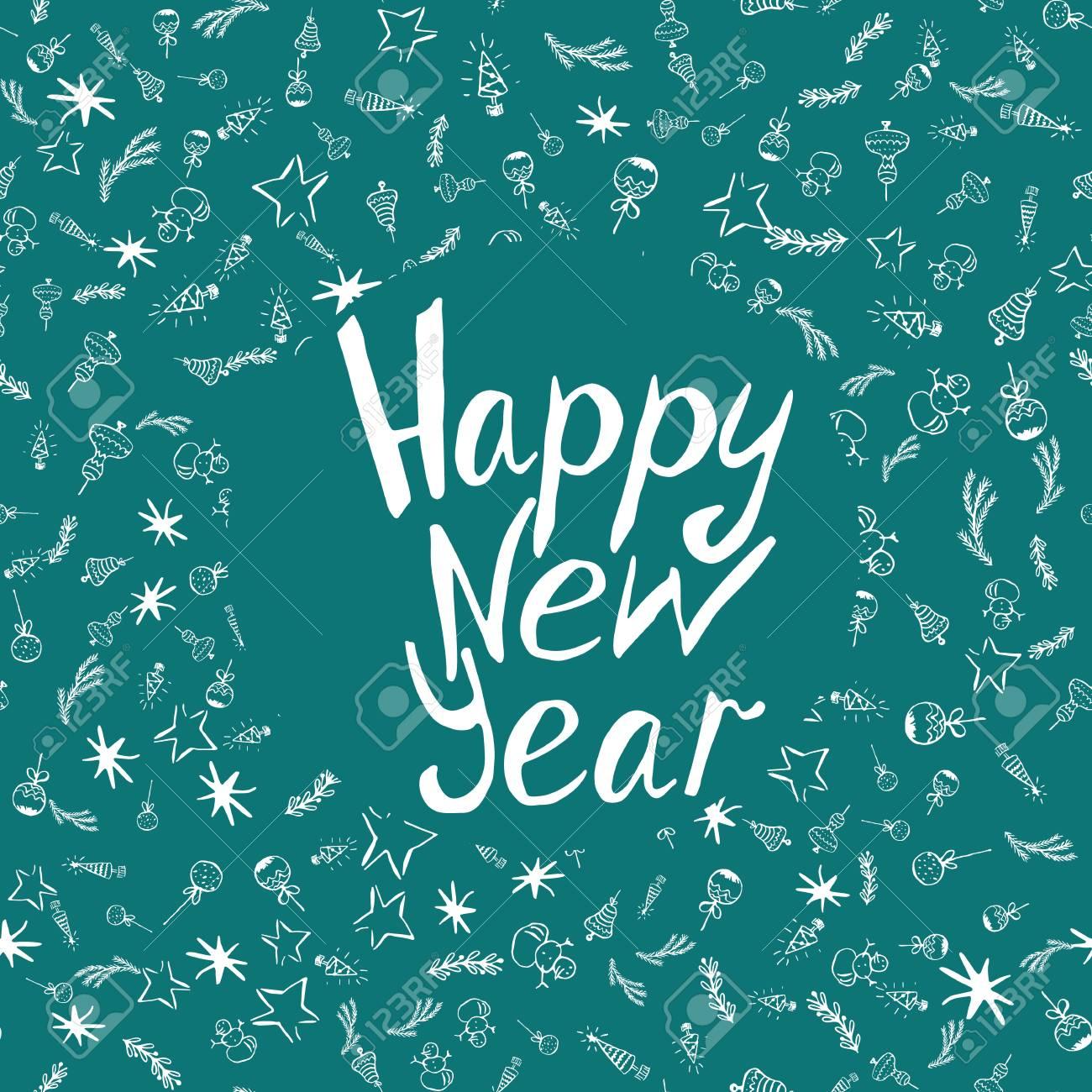 Frase Caligráfica De Feliz Ano Novo Com Elementos Handdrawn