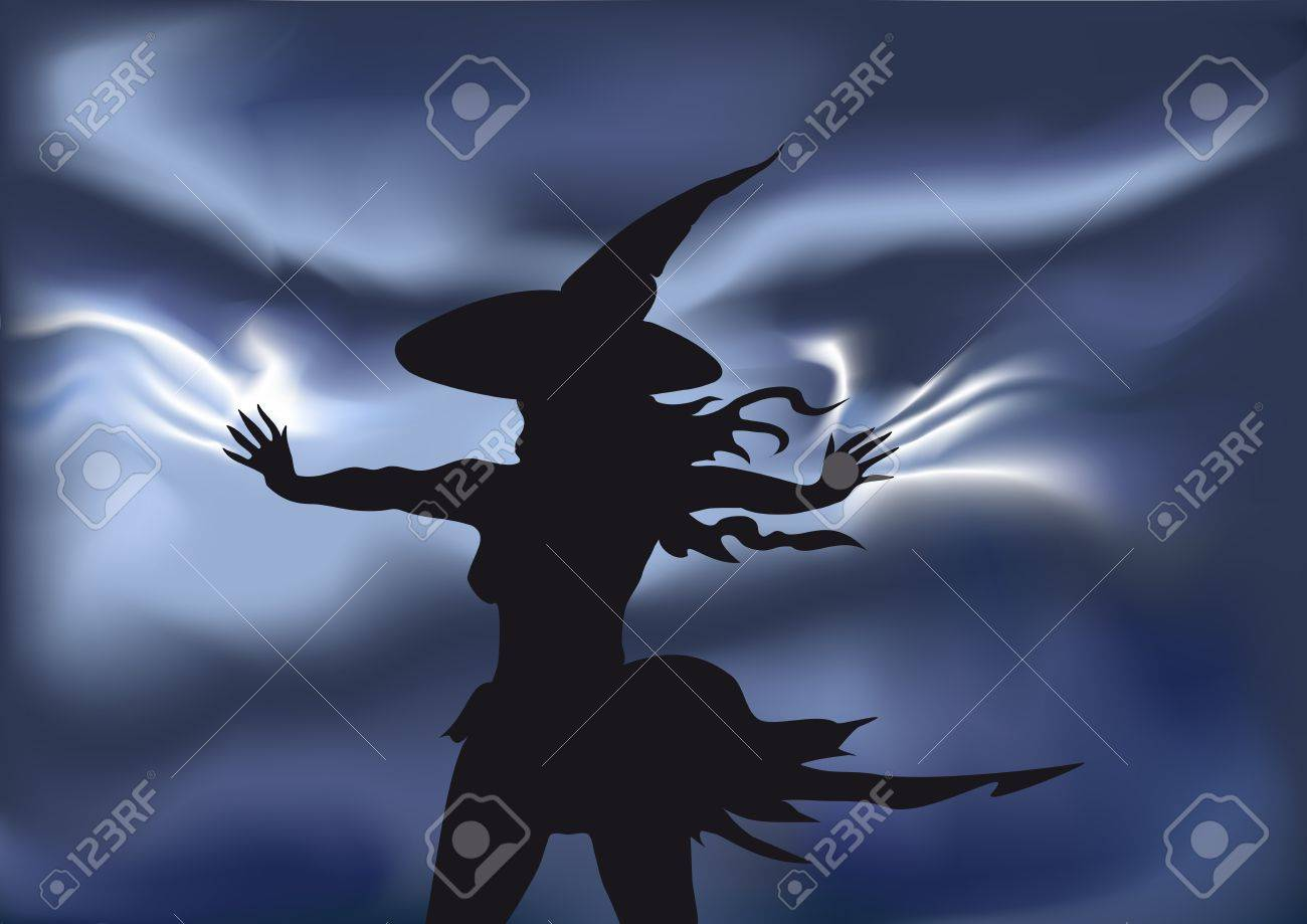 the young witch during a thunder-storm  staying in the field and making sorcery Stock Vector - 15290194