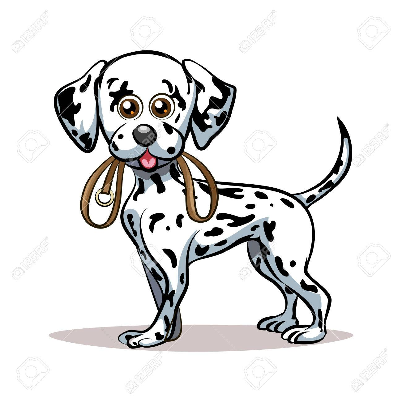Dalmatian Puppy With Dog Lead In His Mouth Good For Pet Club Royalty Free Cliparts Vectors And Stock Illustration Image 38367843