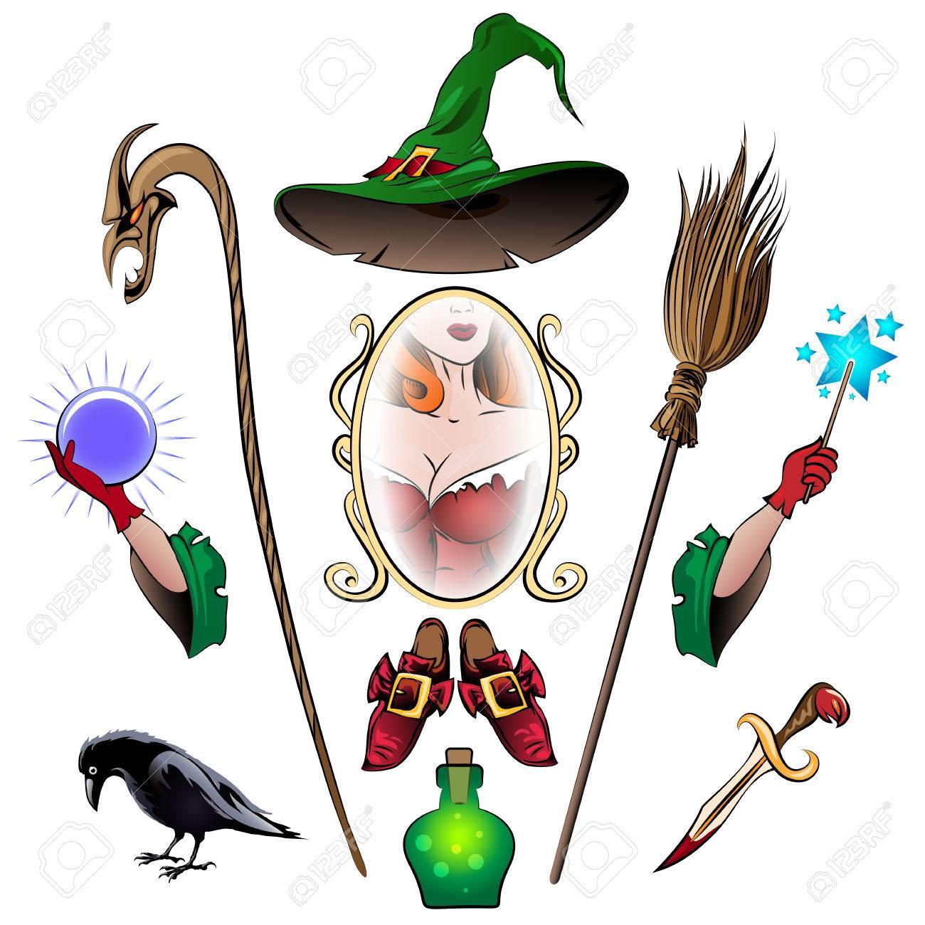 Witch Zubehör Bunte Reihe. Besen, Kristallkugel, Ritualmesser ...