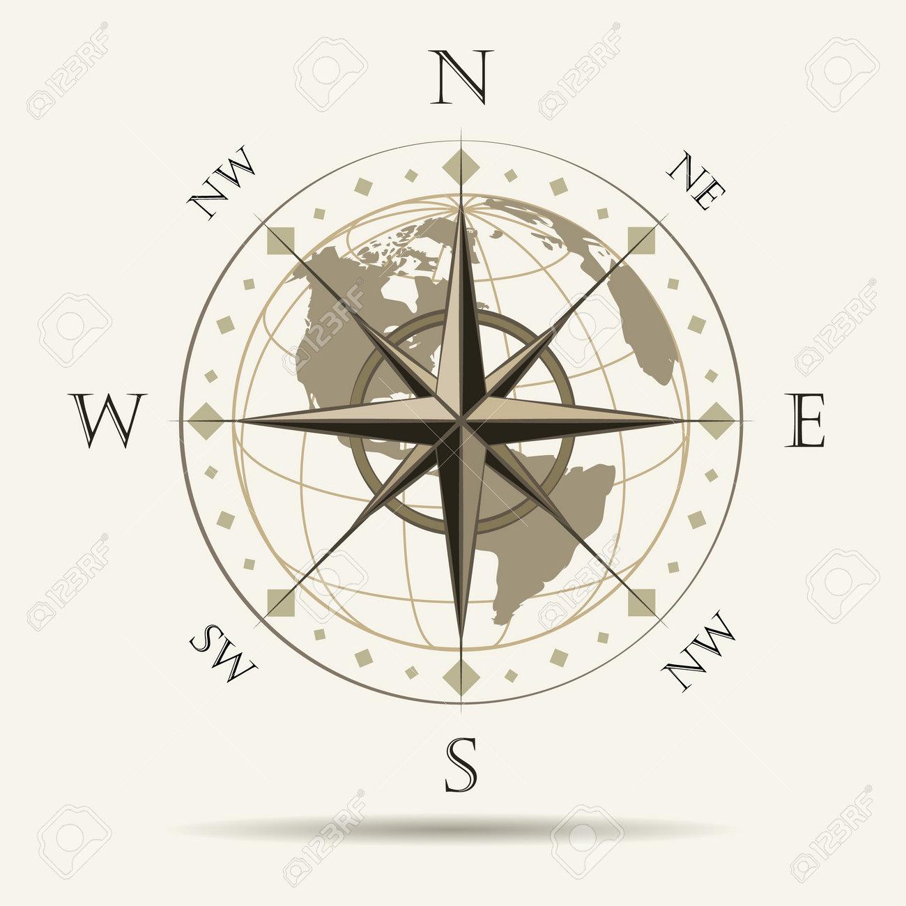 Navigation Emblem of Wind Rose. vector Illustration. - 166432420