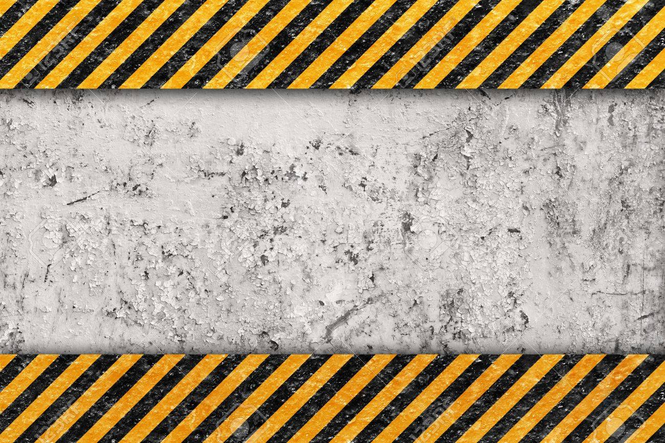 Grunge Orange Pattern with Warning Stripe, Old Metal Textured Stock Photo - 14260766