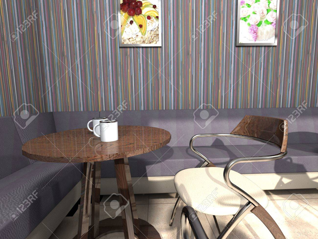 Cozy corner of cafe with a little table, a sofa, a chair and coffee Stock Photo - 16818548