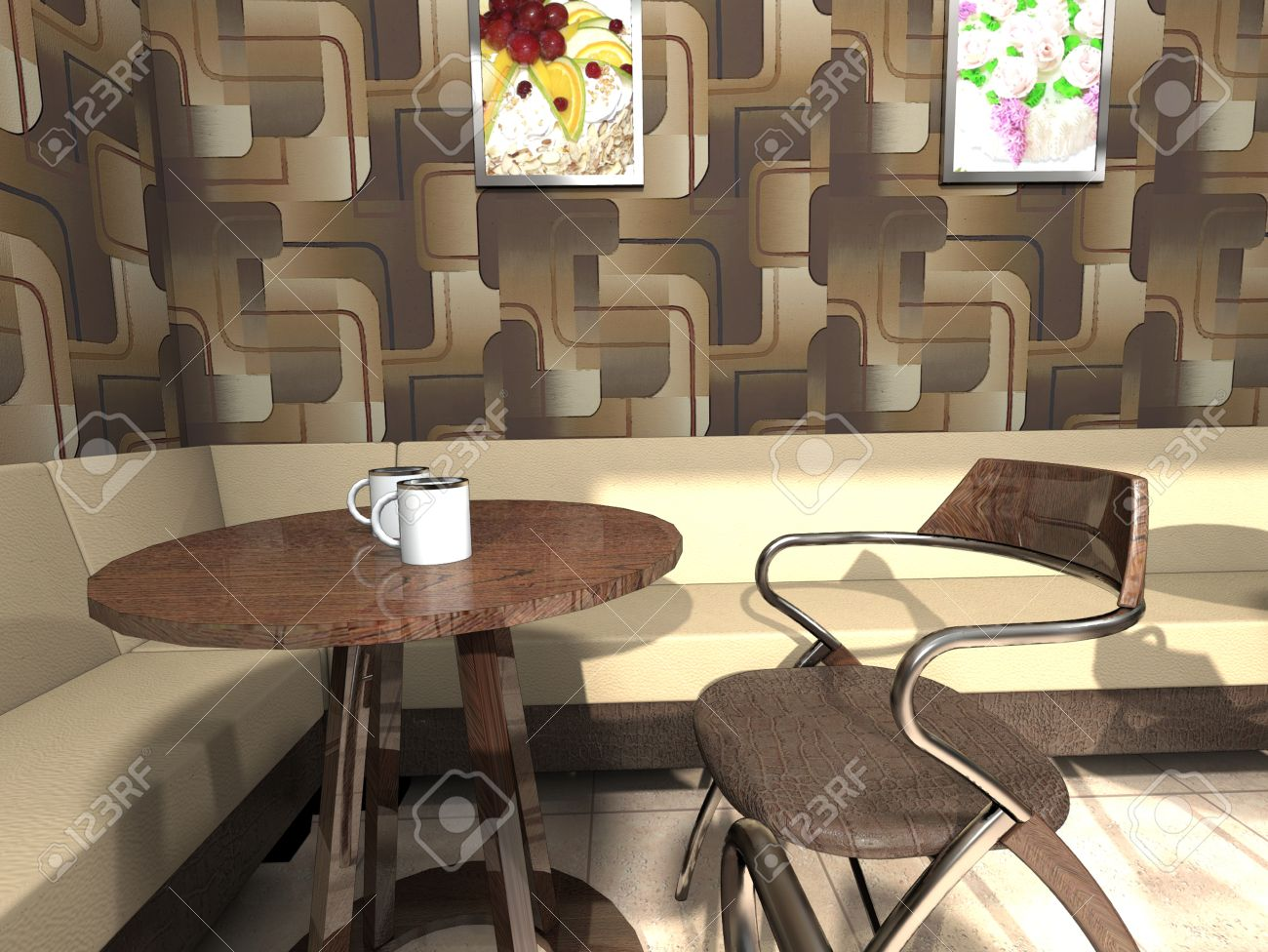 Gemutliche Ecke Cafe Mit Einem Kleinen Tisch Ein Sofa Ein Sessel