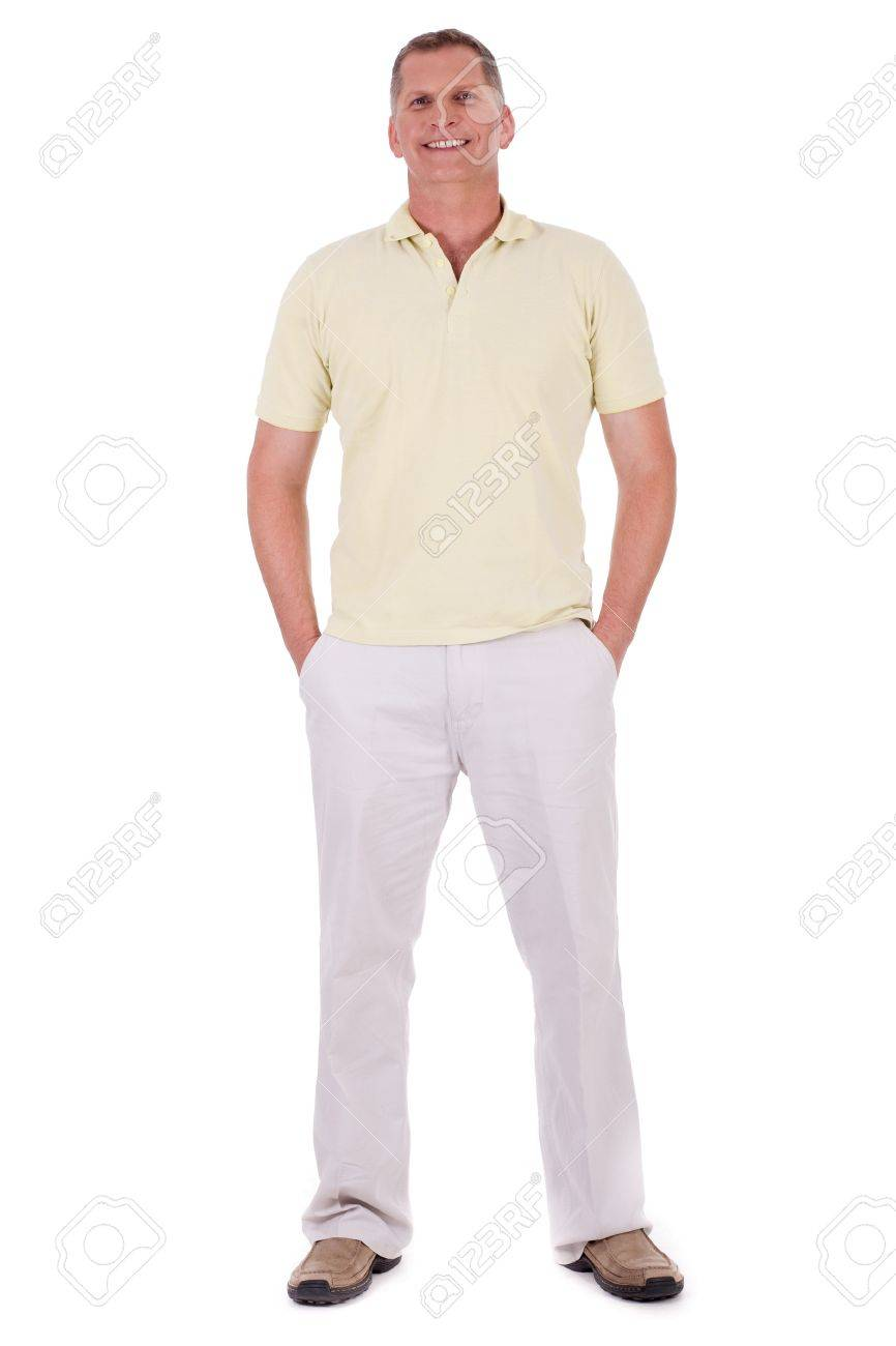 Full length of smiling middle aged man looking at you over isolated white background Stock Photo - 7169064