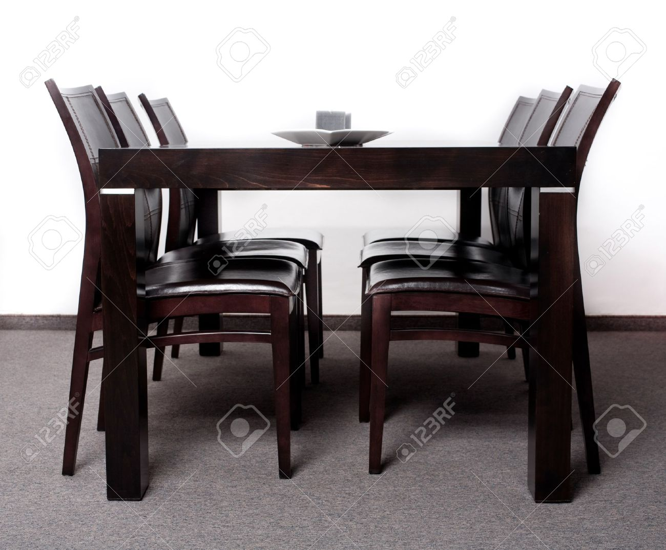 Modern wooden chairs for dining table - Modern Wooden Finished Dining Table With Six Chair Set Stock Photo 7673534