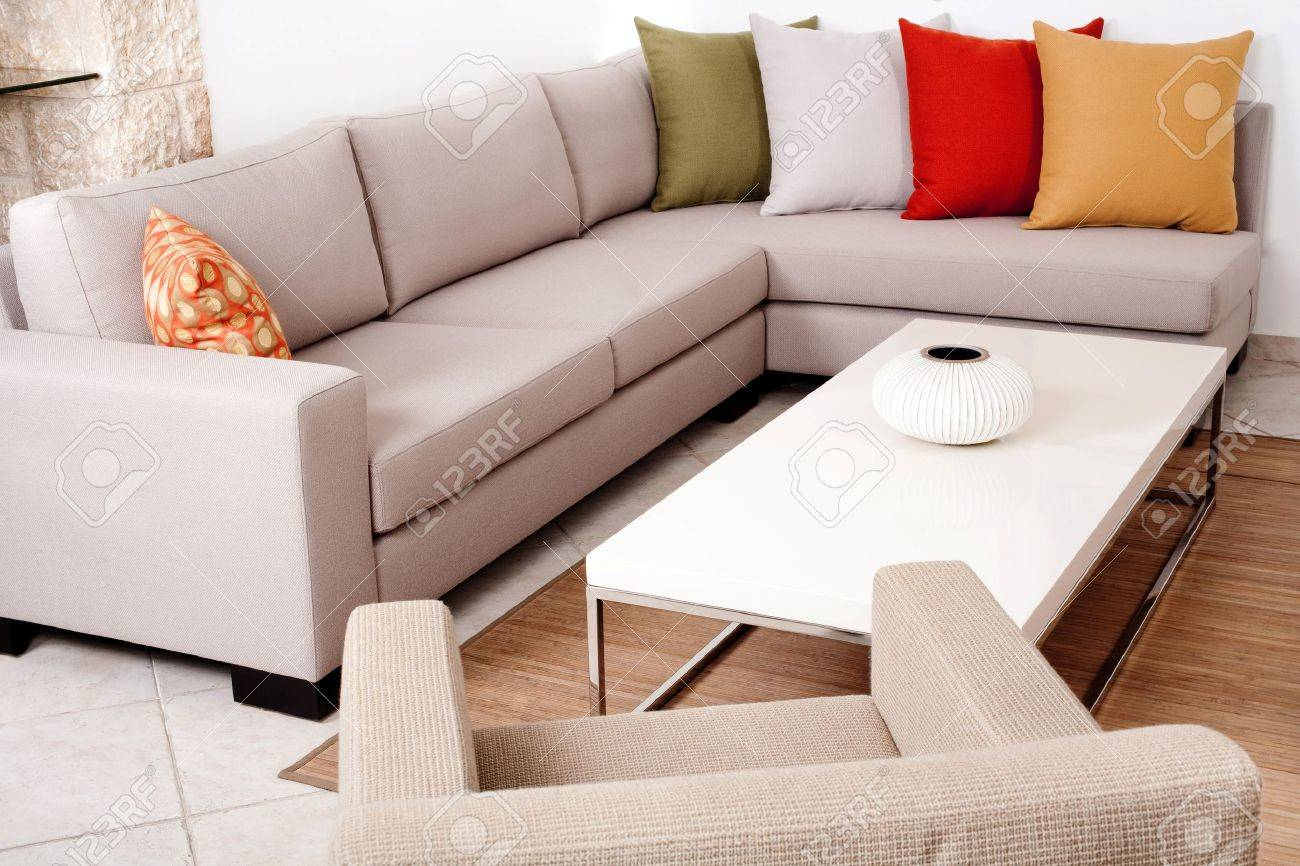 coloured cushion in the modern couch stock photo, picture and