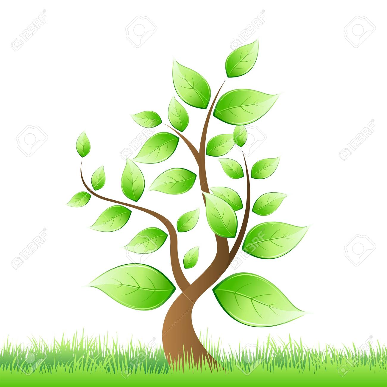 illustration of  tree growing in grass Stock Illustration - 7714926