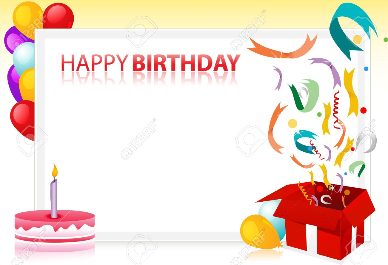 illustration of birthday with balloons and cake and sample text at the back Stock Photo - 7746263