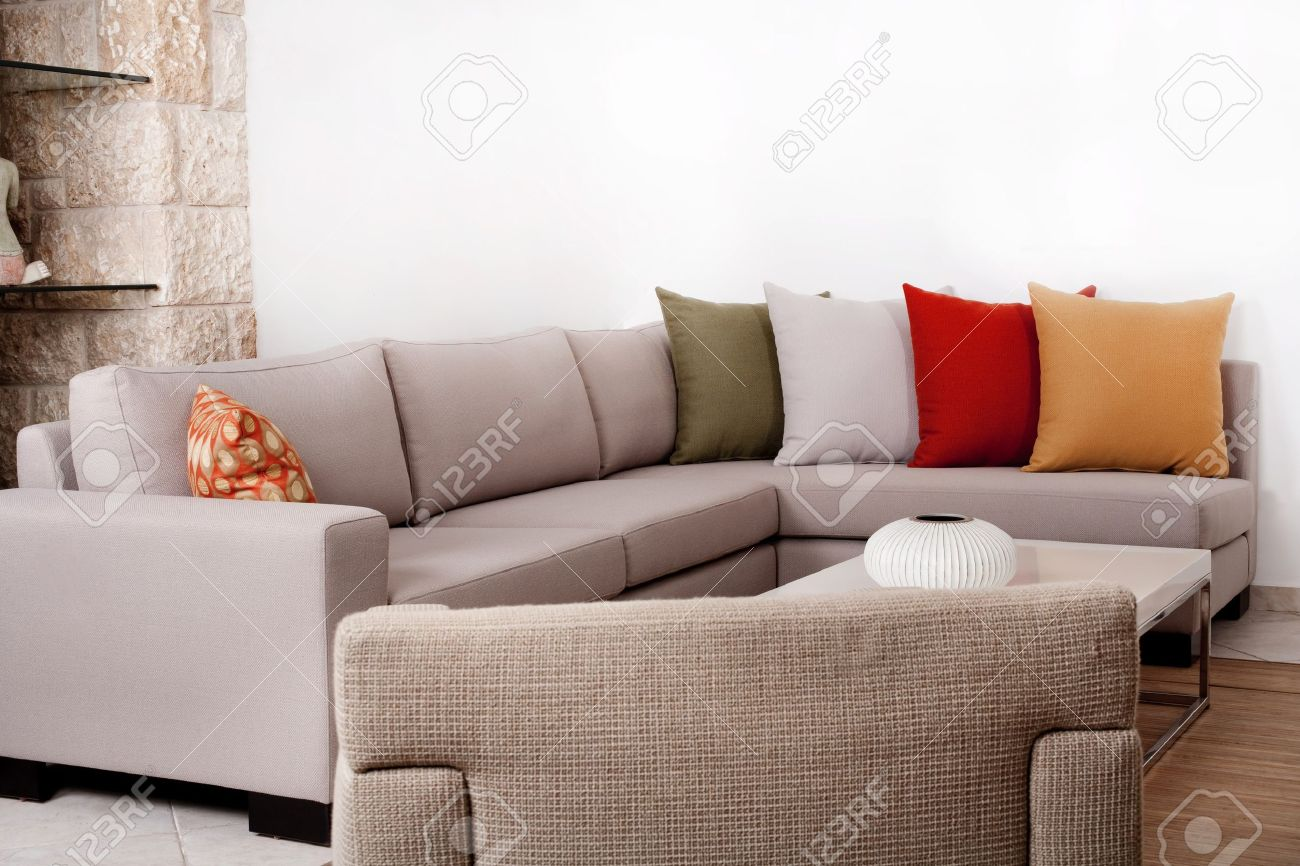 modern couch withe coloured pillow stock photo picture and  - modern couch withe coloured pillow stock photo