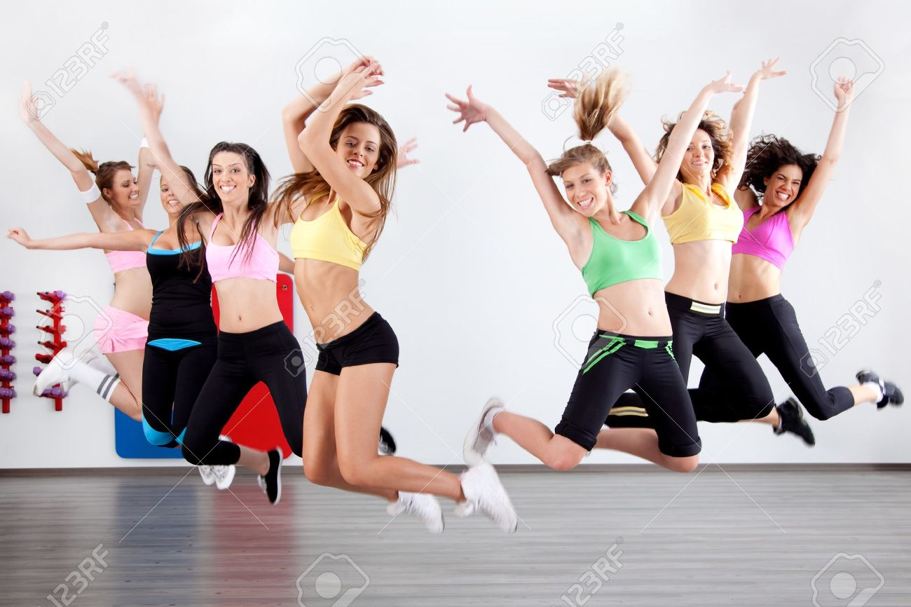 group of ladies working out in aerobic class - 7824324
