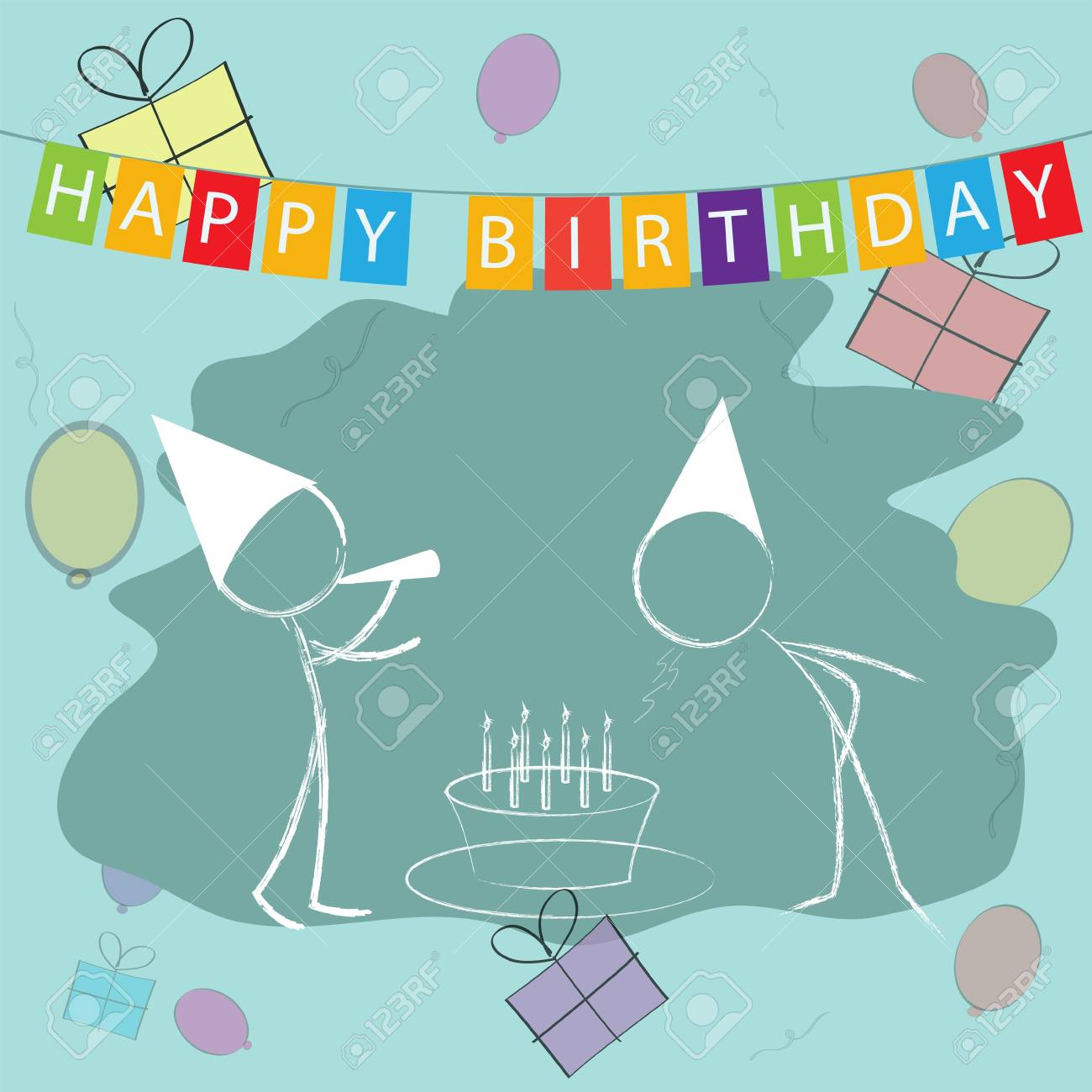 illustration of kids celebrating birthday with cake and blowing candle Stock Illustration - 7847120