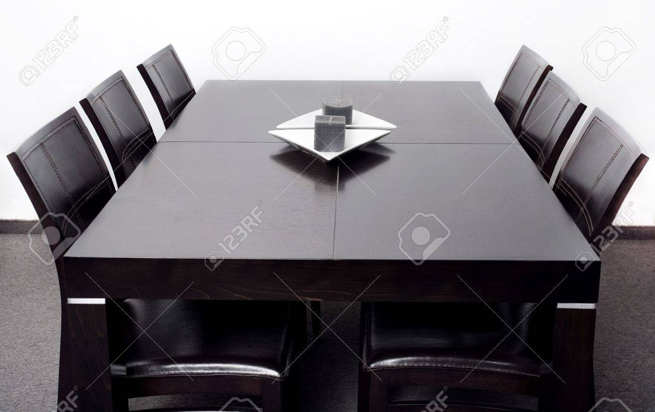 New stylish modern dining table with six chair set Stock Photo - 7957763