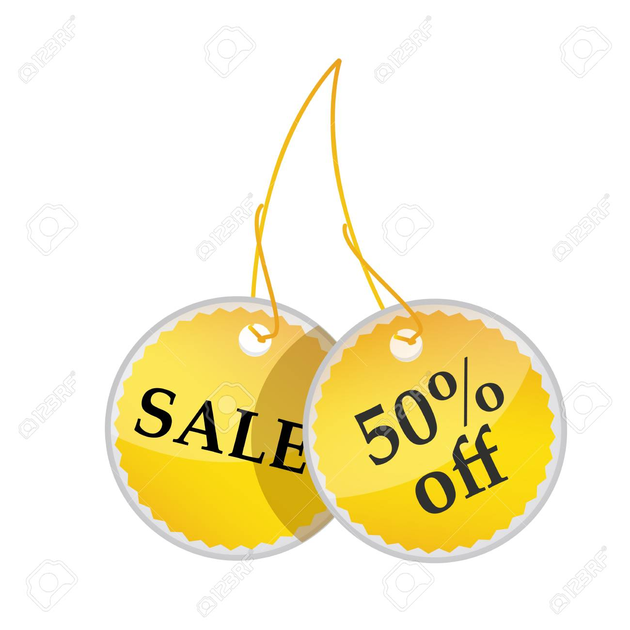 illustration of tags with sale and 50% off text on white background Stock Photo - 8017940