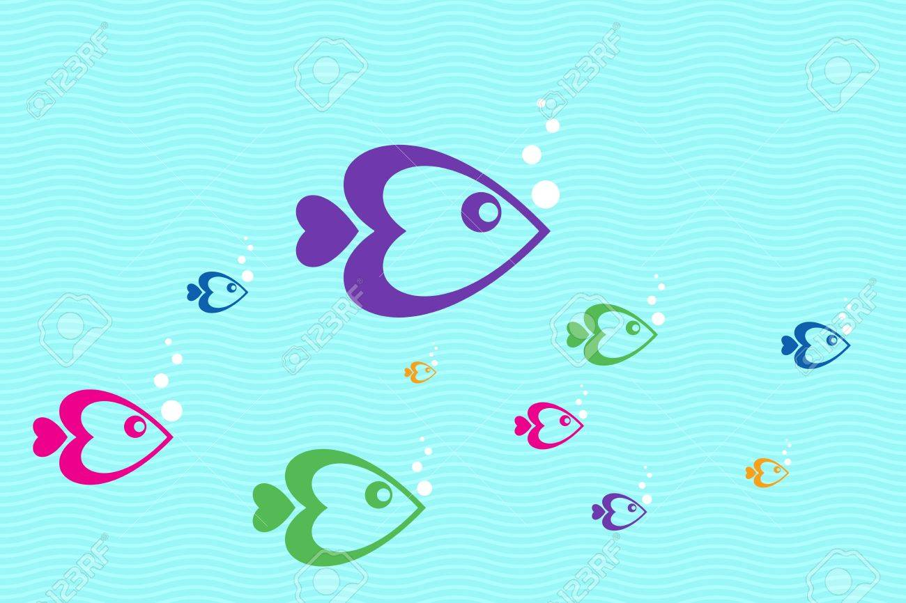illustration of colorful  fishes floating in water Stock Illustration - 8018046