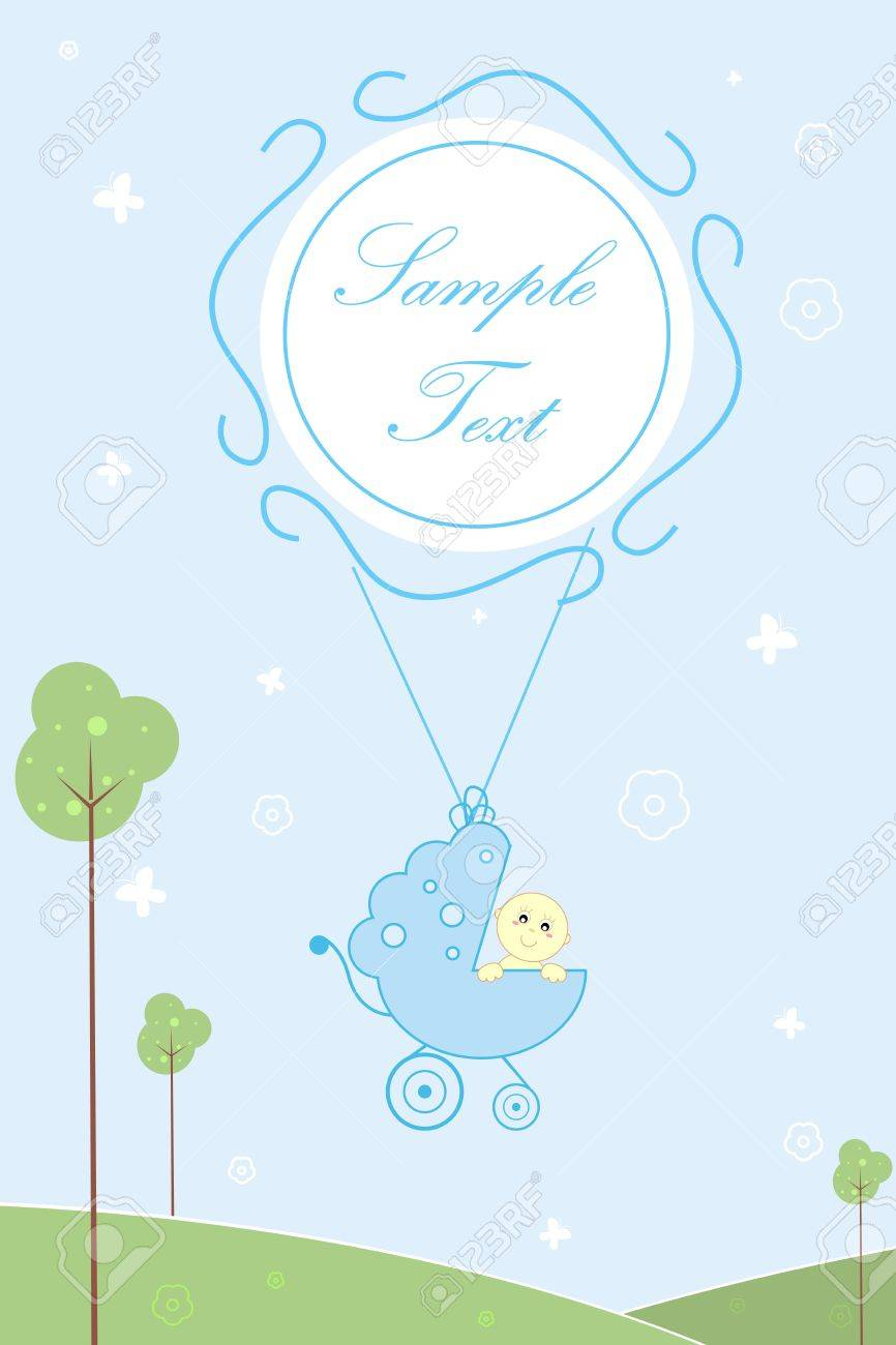 illustration of baby arrival card with baby in pram and sample text Stock Photo - 8112454