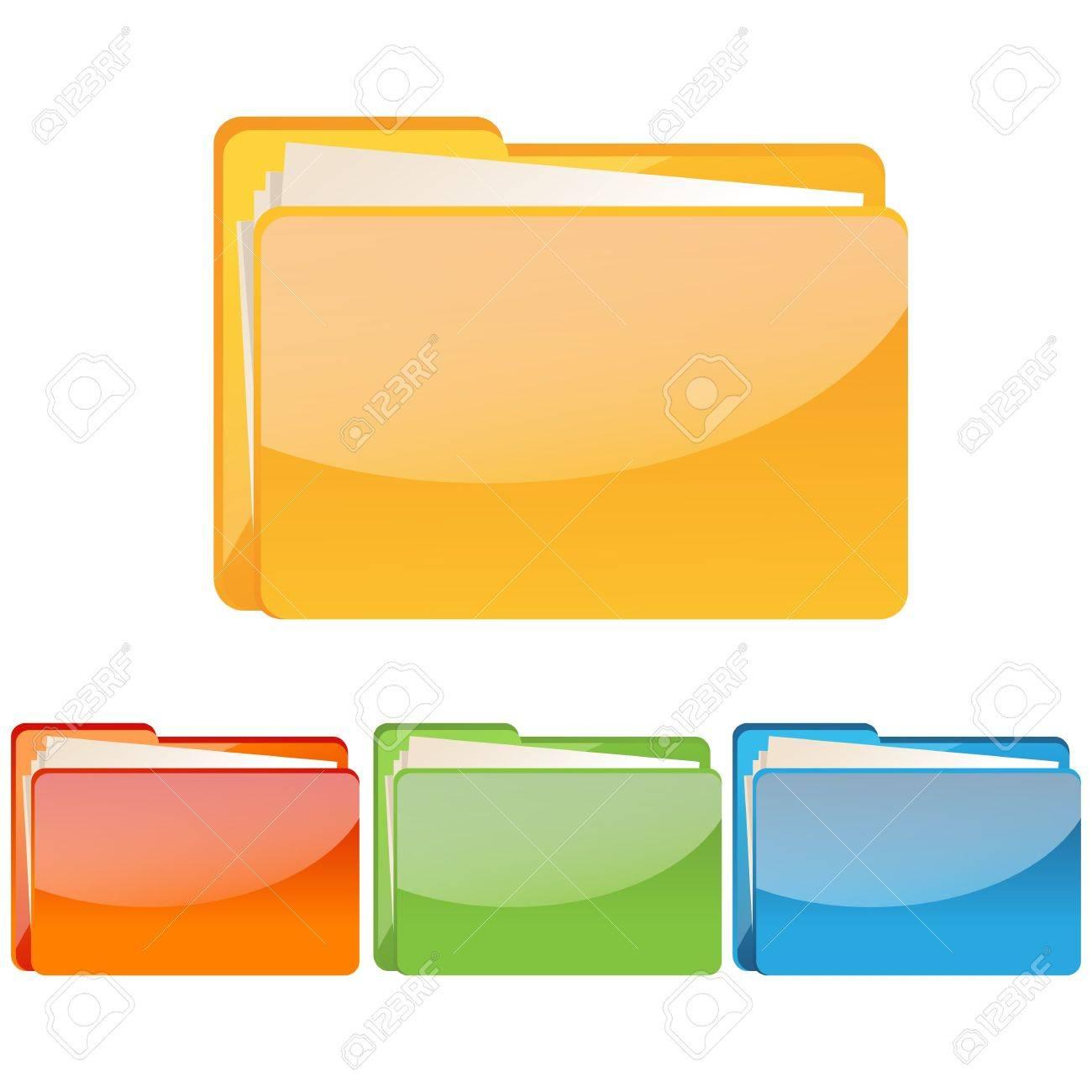 illustration of set of colorful folder icon on an isolated background Stock Illustration - 8112412