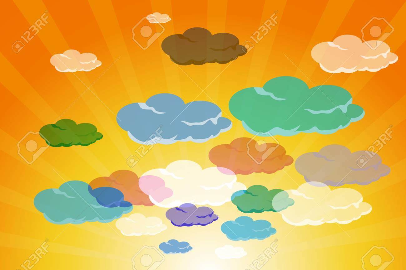 illustration of set of colorful clouds in summer sky Stock Photo - 8112462