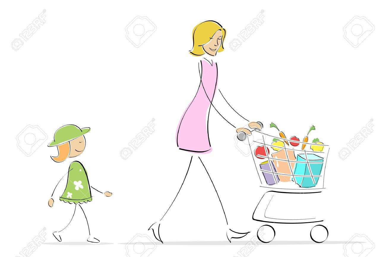 illustration of mother and daughter shopping while mother is pushing shopping trolley Stock Illustration - 8112471