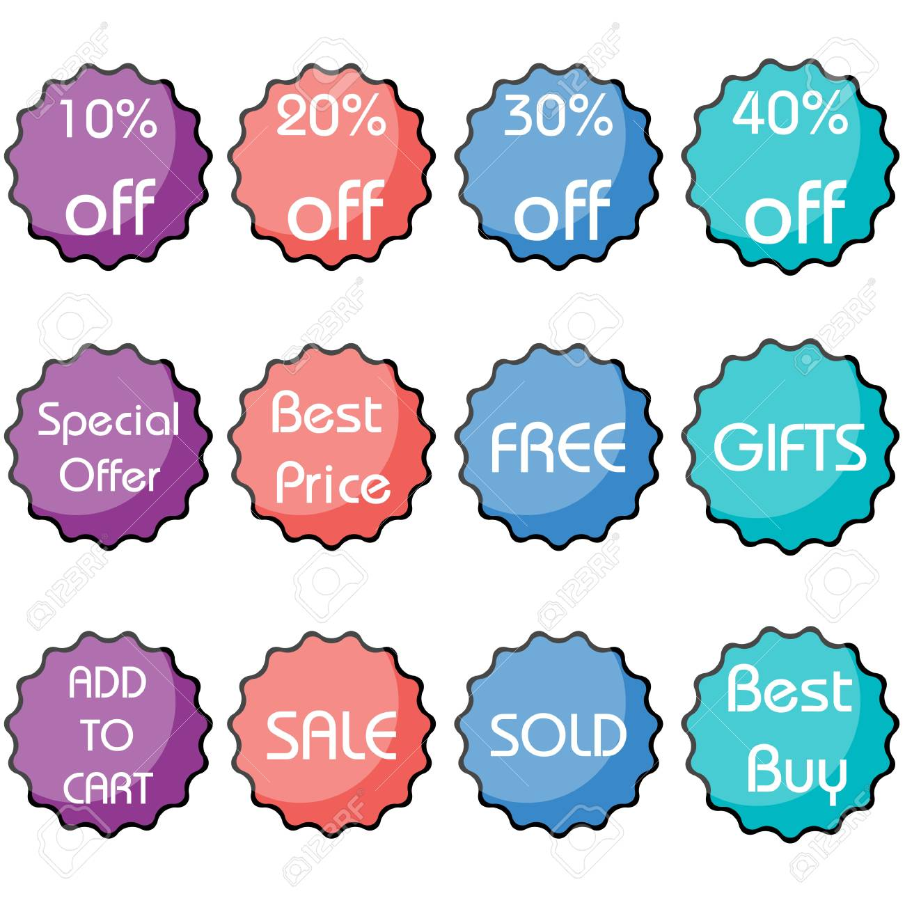 illustration of set of colorful discount and sale icon Stock Photo - 8112551