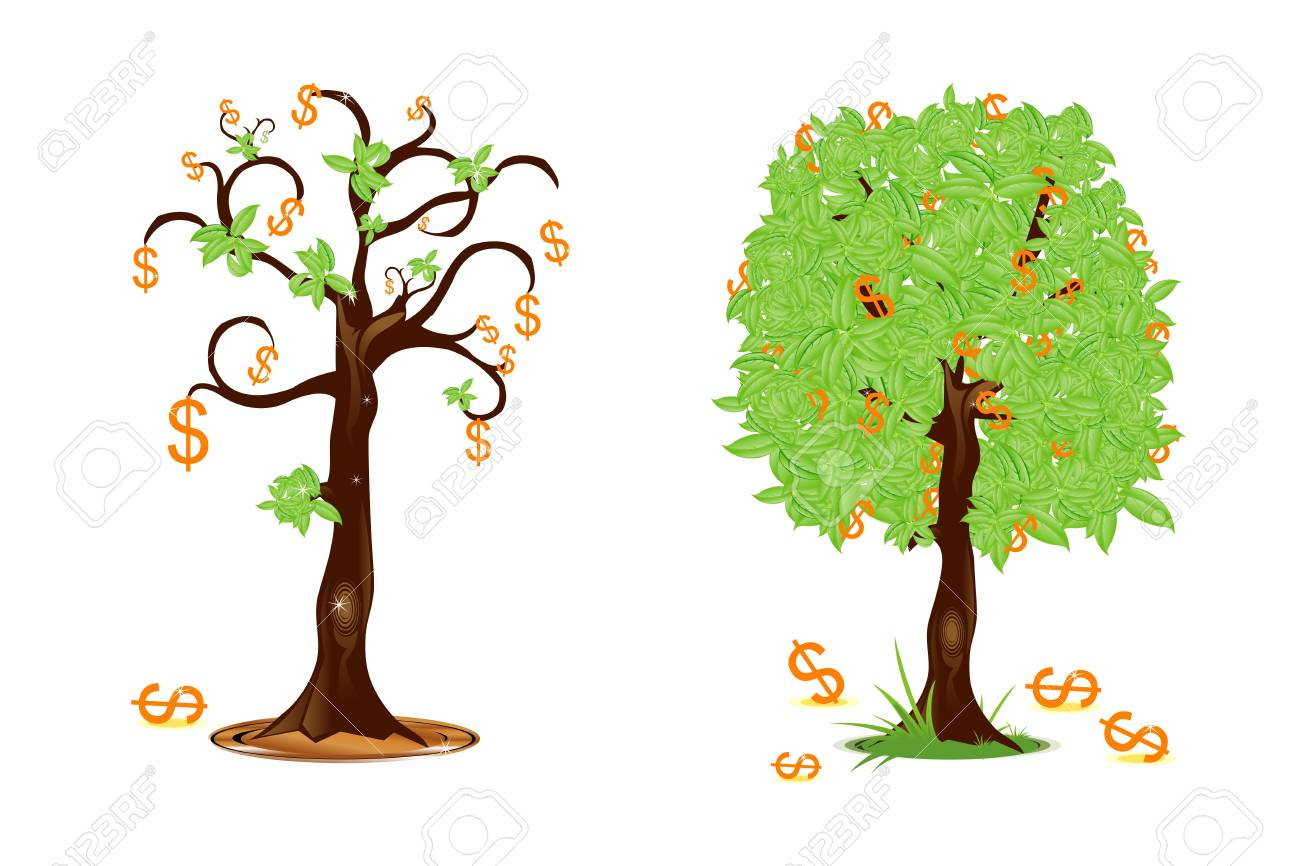 illustration of dollar trees showing profit and loss Stock Illustration - 8112590
