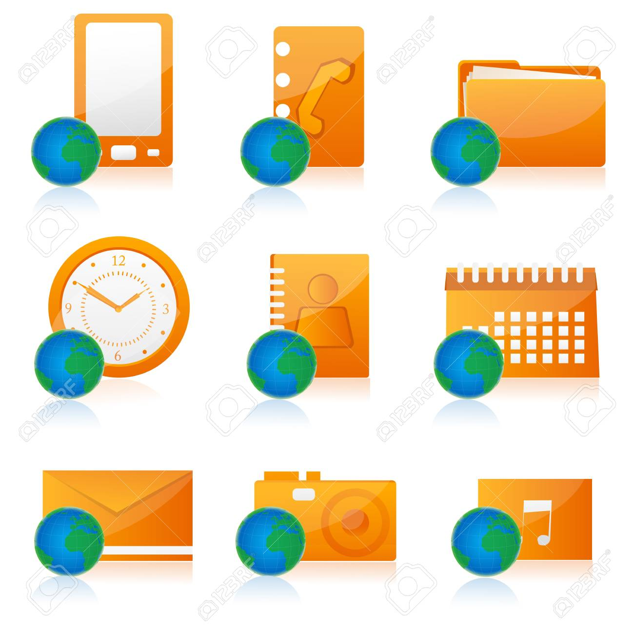 illustration of set of different office icon Stock Photo - 8112542