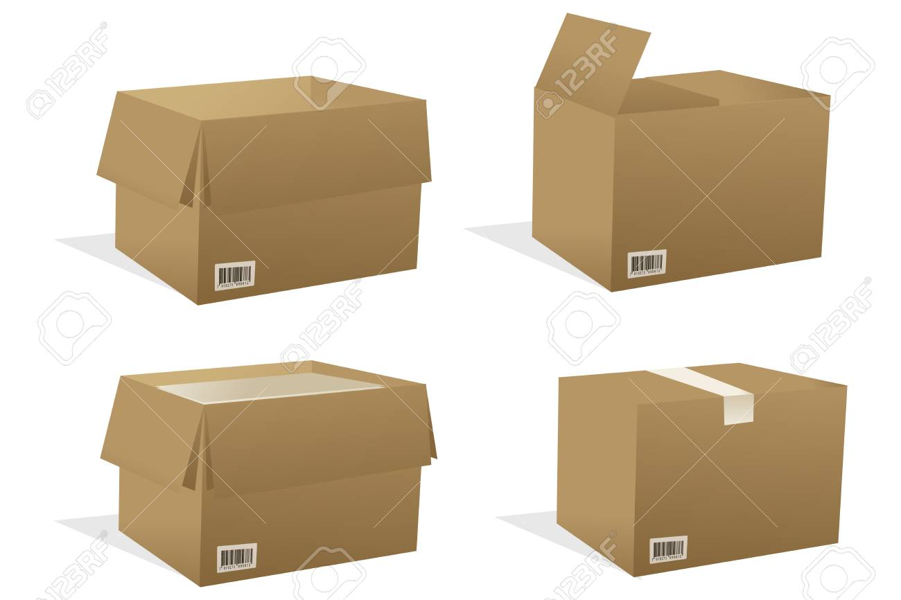 illustration of boxes with white background Stock Vector - 8247095