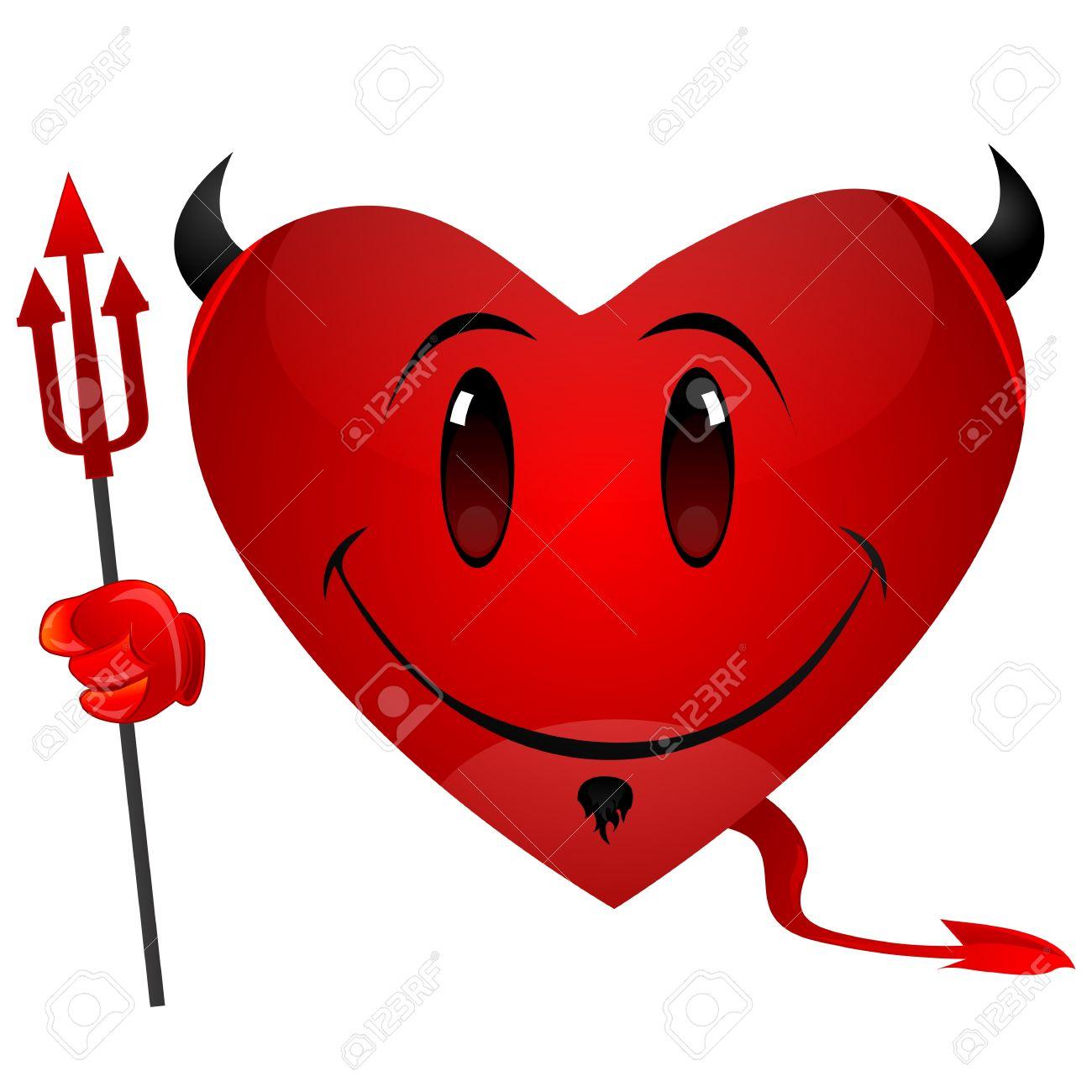illustration of smiley devil heart royalty free cliparts vectors
