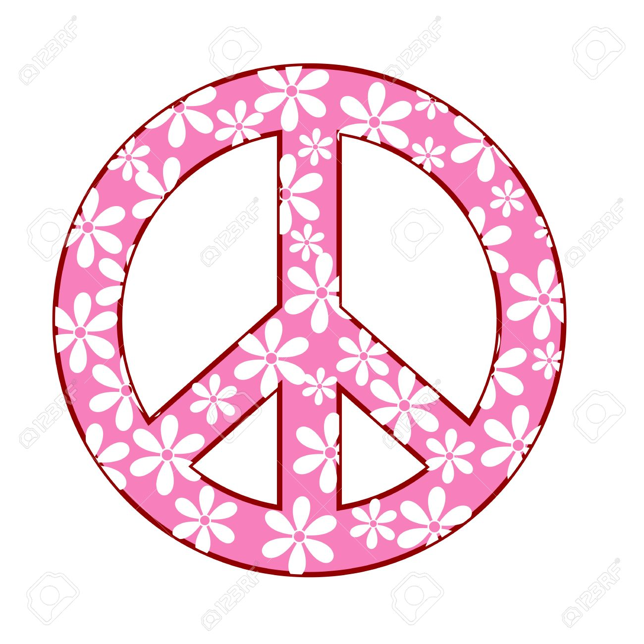 Illustration Of Peace Symbol With Floral Texture Royalty Free